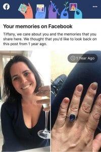 Tiffany Stone engagement ring saying yes